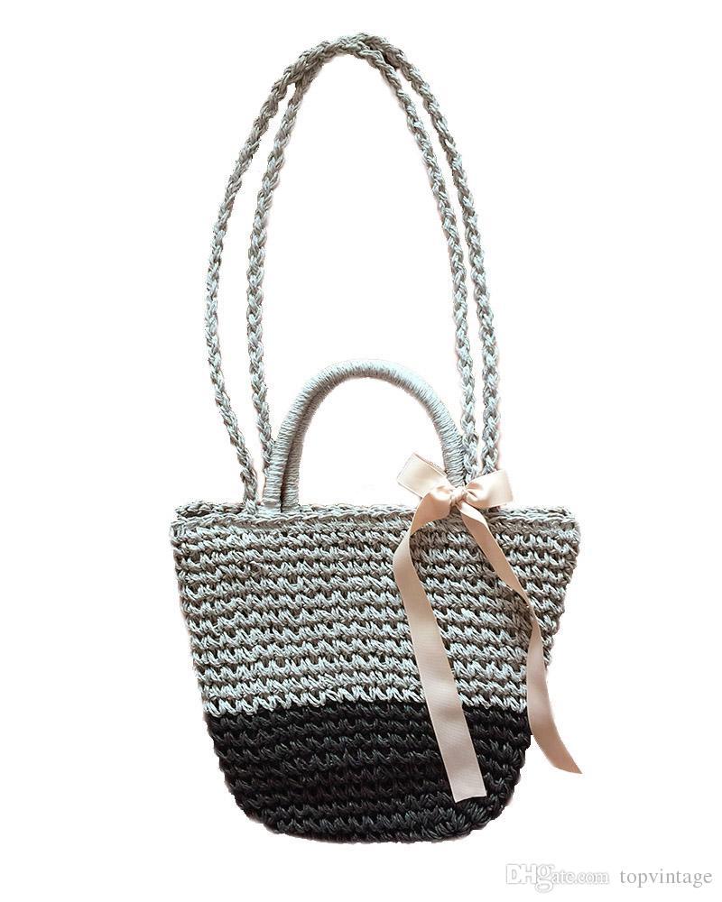 Women vintage shoulder tote bag beach straw bag handmade crochet handbag for lady new fashion