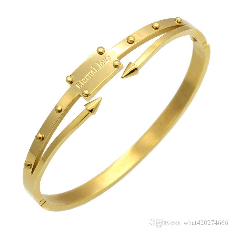 Pulseira Feminina Bangle Gold Color Bracelets & Bangles Pulseiras Stainless Steel Screw Bracelet Women Eternal Love Jewelry