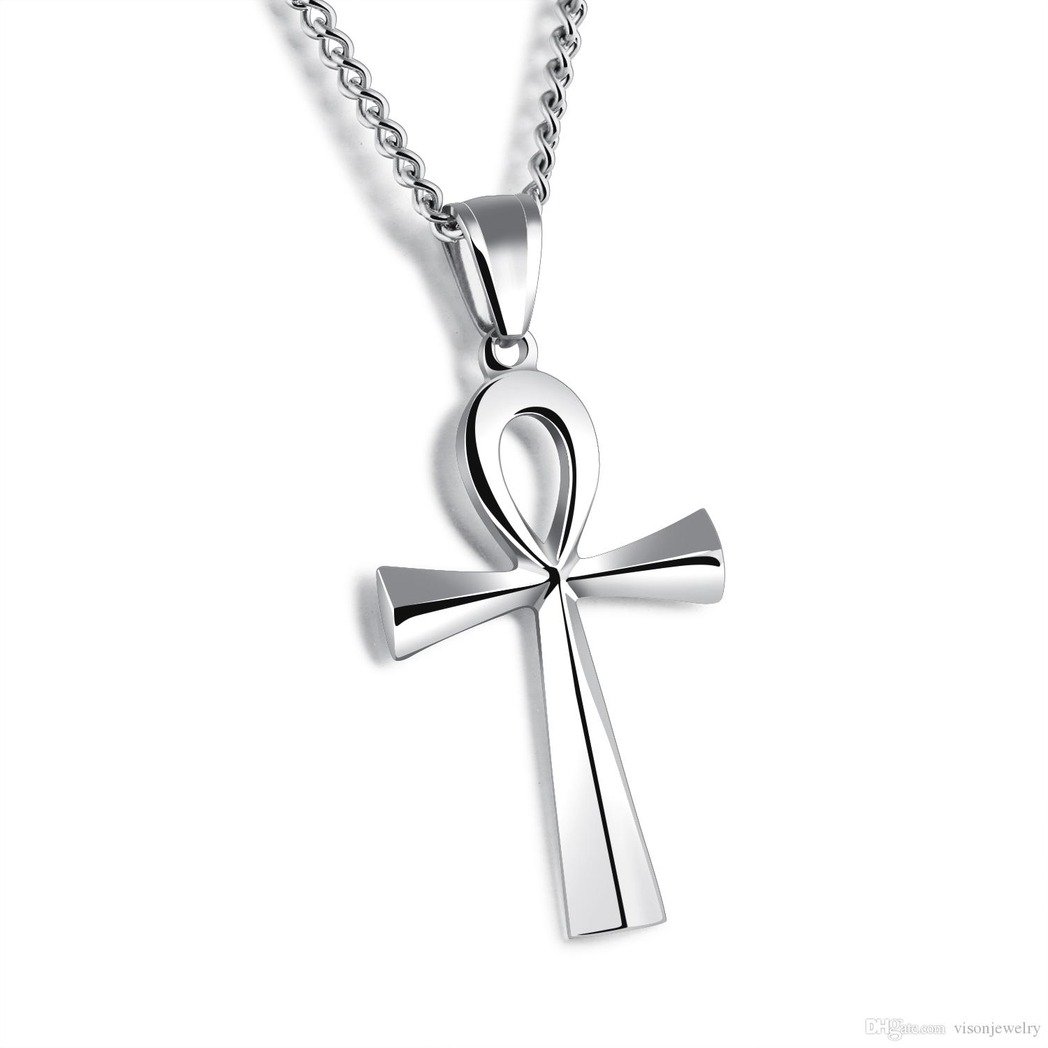 """25x43mm Hieroglyph Jewelry Meaning """"Life"""" Egyptian Ankh Pendants Necklace in Stainless Steel - Silver, Gold, Black"""