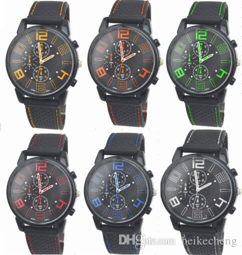 Wholesale 200pcs/lot Mix 6Colors Men Causal SPORT Military Pilot Aviator Army Racing Silicone Watch RW015