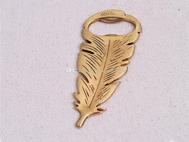 """Gilded Gold"" Feather Bottle Opener Vintage Metal Beer Souvenir For Birthday Parties Wedding Favors And Gifts DHL"