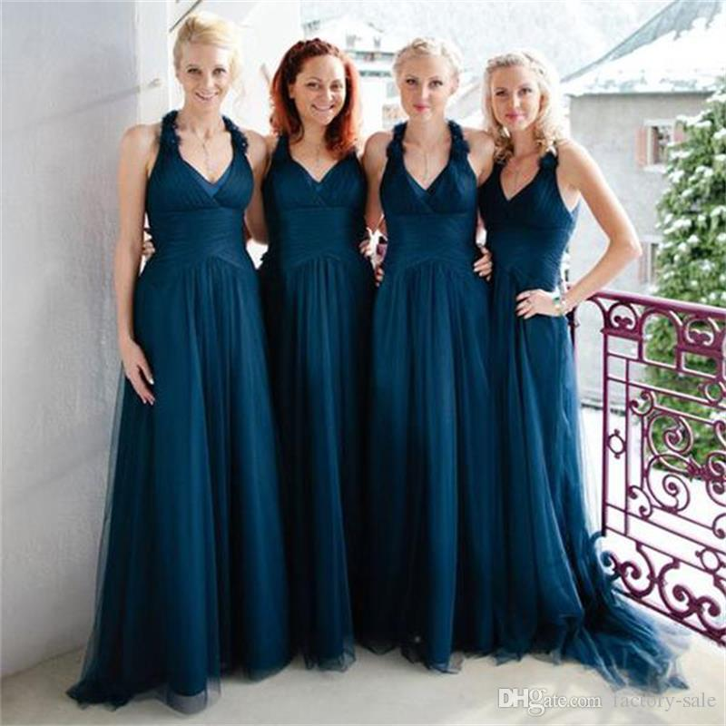 Teal Wedding Gown: 2017 Elegant Halter Simple Navy Blue Bridesmaid Dresses