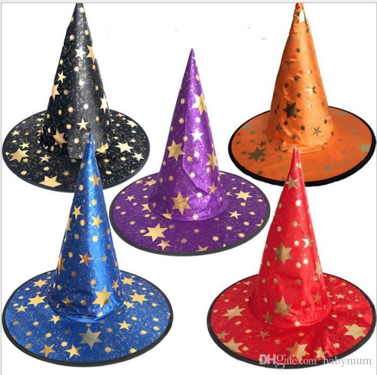 Cadılar bayramı cadı kap Parti Cosplay Prop Festivali Fantezi Elbise Çocuk Kostümleri için Cadı Sihirbazı Kıyafeti Şapka Kostüm çocuklar şapka