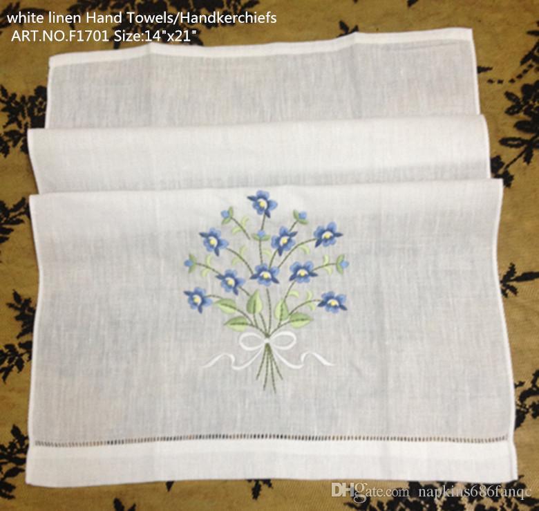 Ev Tekstili Beyaz keten Konuk Havlu El Havlusu 12 Adet / grup 14