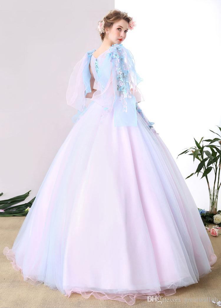 463d8e88cc light blue flower beading bowknot shoulder ball gown medieval dress  Renaissance Gown Costume Victorian /Marie Antoinette/ Belle Ball dress