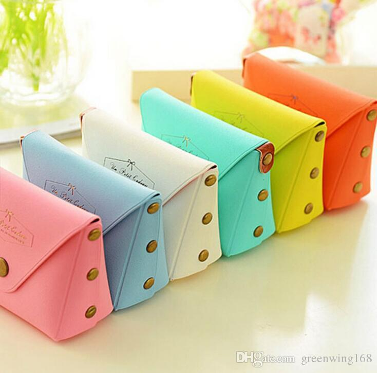 Lovely Candy Color PU Leather Coin Purses Lady Key Wallet Kids Girl's Earphone Storage Bags Macarons Mini Handbags free ship