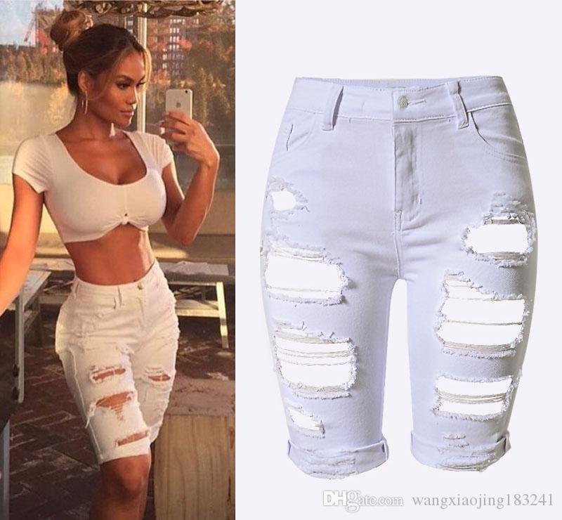 2017 2017 New Womens Summer White Hole Ripped High Waisted Skinny ...