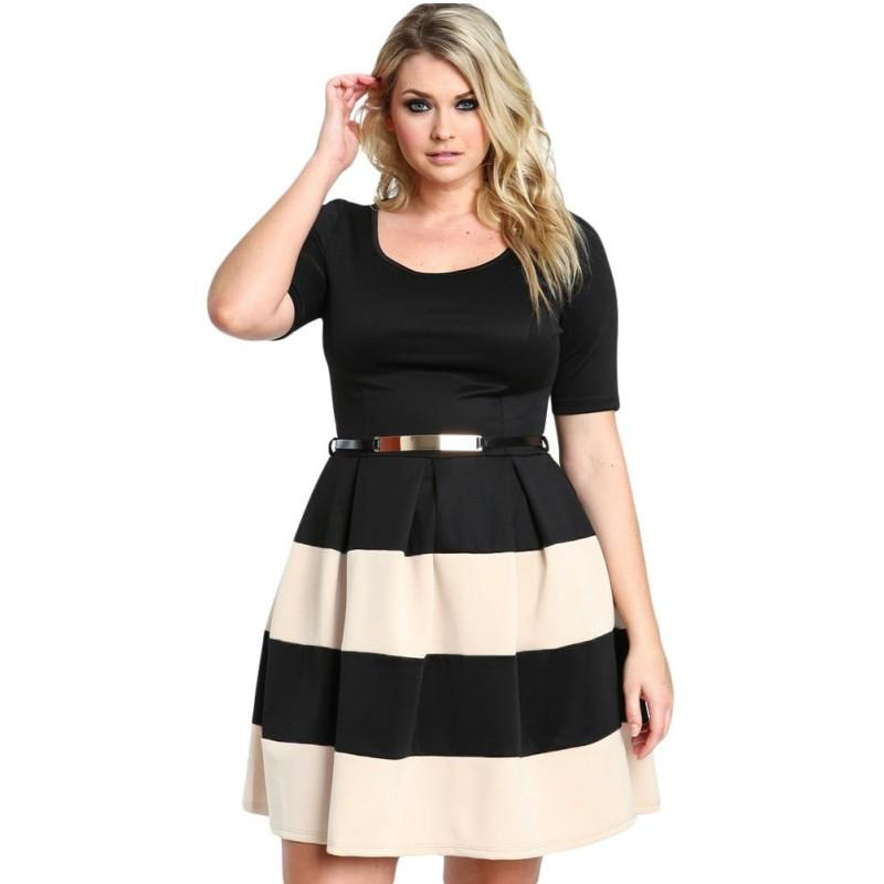 Women Sexy Dress Black Top Short Sleeve Splice Stripes Detail Belted