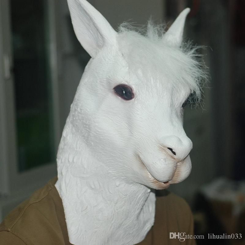 Atacado Ecológico Látex Completa Máscara de Alpaca Animal Engraçado Cabeça de Ovelha Máscara de Halloween Festa de Brinquedo Prop Máscara