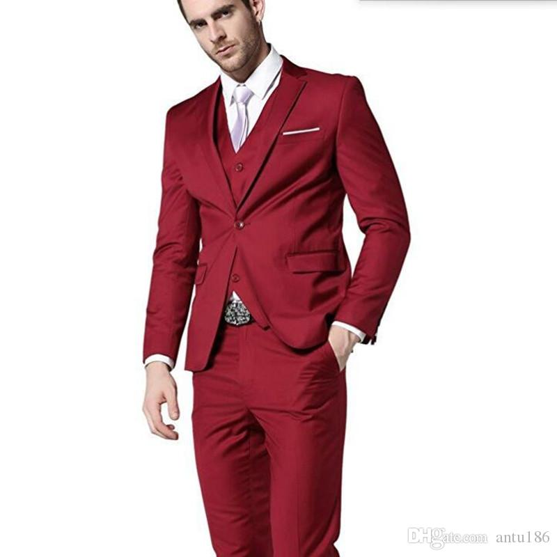 Kırmızı erkek takım elbise son ceket ve pantolon tasarım damat takım elbise smokin özel yapılmış yaka bir düğme düğün takımları ceket + yelek + pantolon