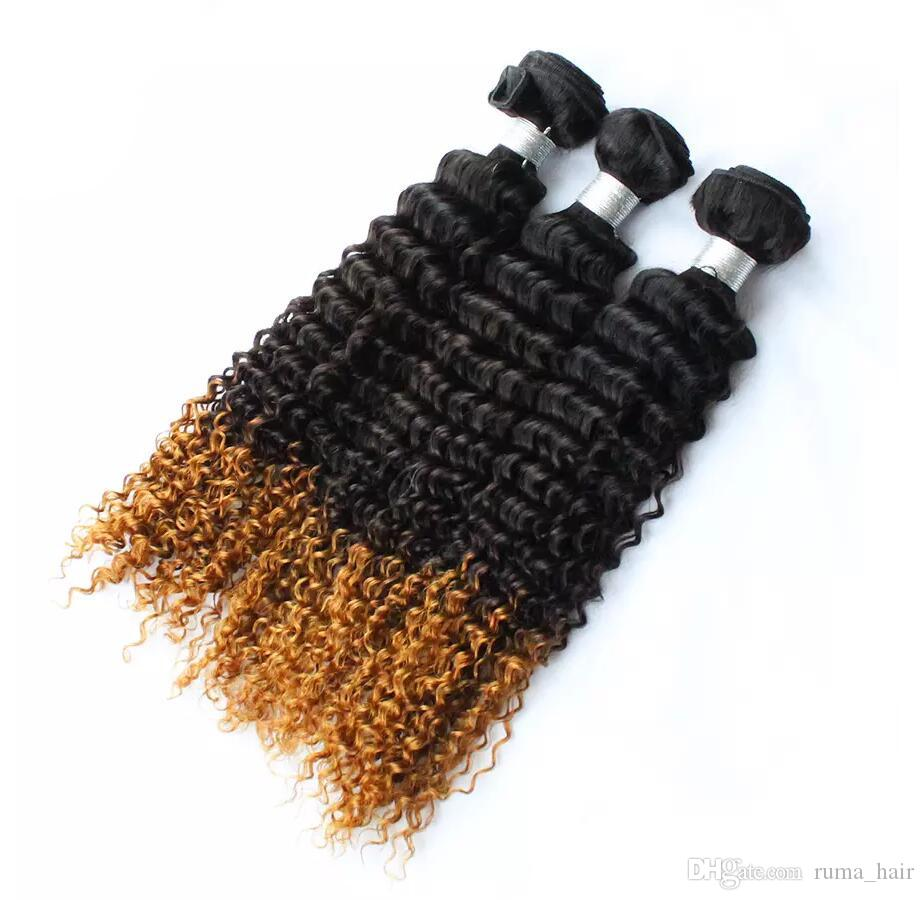 Ombre 1b 4 27 Hair Bundles Three Tone Honey Blonde Deep Wave Hair Extensions Honey Blonde Deep Curly Hair Wefts For Sale