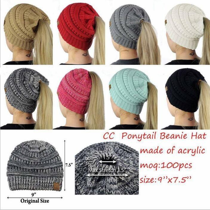 Cc Ponytail Hats Cc Trendy Knitted Beanie Winter Oversized Chunky