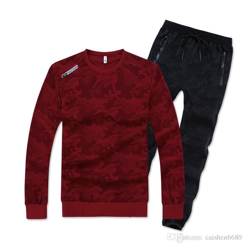 큰 크기 느슨한 스타일 130kg 7XL 8XL 남자 스포츠 수트 위장 패턴 후드 세트를 착용 할 수 있습니다 따뜻한 체육관 스포츠 조깅 슈트를 실행