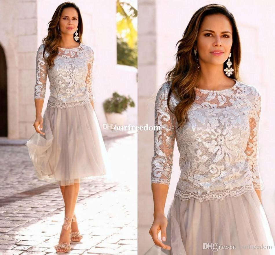2020 Newest Short Mother Of The Bride Dresses Lace Tulle Knee Length 3/4 Long Sleeves Mother Bride Dresses Short Prom Dresses