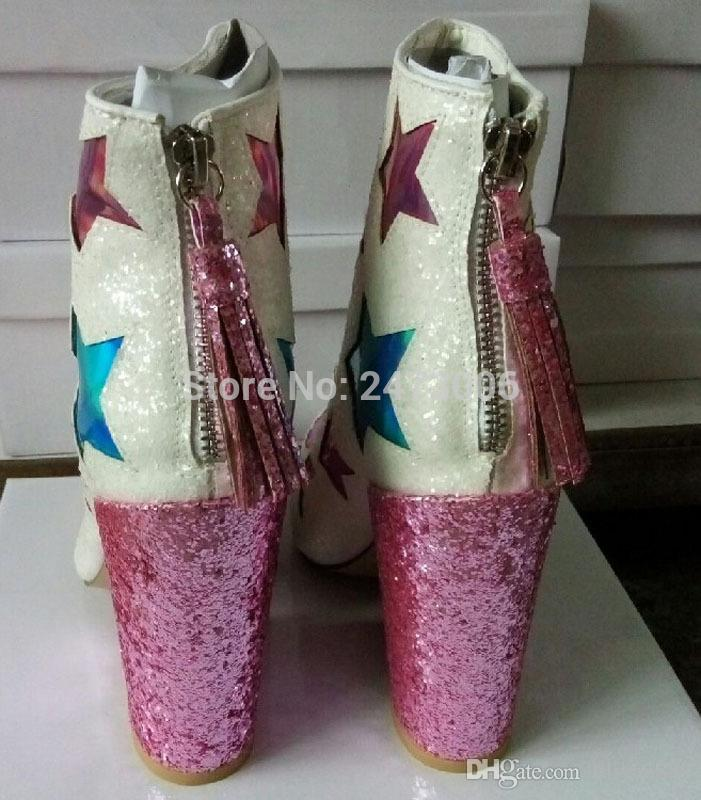 Spring Bling Bling Sequined Cloth High Heels Ankle Boots Back Zipper Tassel Shoes Mixed Colors Stars Fringed Pumps Zapatos Mujer