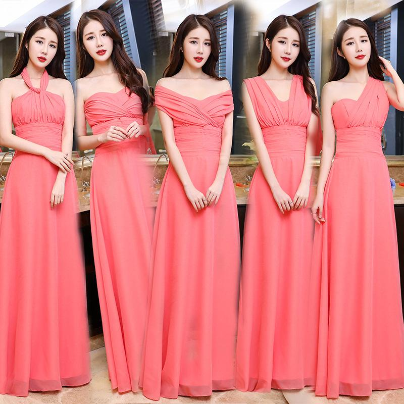 ee4fd15a99 Cheap 2017 Long Chiffon Bridesmaid Convertible Dresses One Shoulder Pleated  Bridesmaid Party Dress Floor Length Wedding Bridesmaid Dress Bridemaid Dress  ...