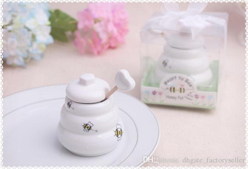 "Free DHL/Fedex ""Meant to Bee"" Ceramic Honey Pot Wedding Gift Porcelain Honey Jar Wedding gifts and Favors Supplies"