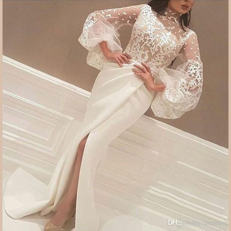 Yousef Designer High Slits Evening Dresses Mermaid High Neck Long Sleeves Lace Body Pleated Skirt Formal Gowns 2018