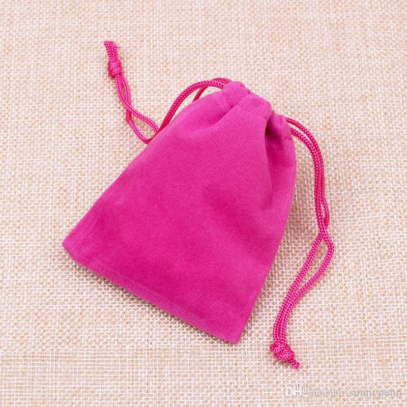 Fancy jewelry packaging display bags atacado 7x9 cm fuchsia hot pink tecido de veludo bolsa de armazenamento de exibição de jóias logotipo personalizado