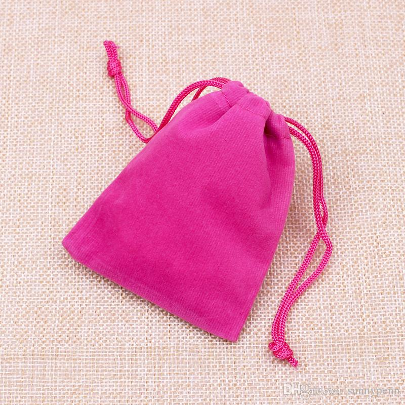 Fancy Schmuck Verpackung Display Taschen Großhandel 7x9cm Fuchsia Hot Pink Samt Stoff Schmuck Display Speicherbeutel angepasst Logo