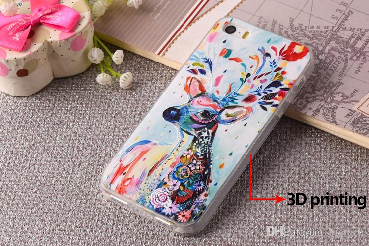 Hot Selling Colorful 3D Printing Cover Case for iphone 7 7plus Relief Soft TPU Phone Case for iphone 6 6plus