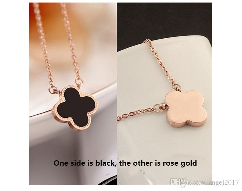 Yonca kolye kadın Kore versiyonu siyah Japonya ve Güney Kore takı dış ticaret moda aksesuarları titanyum çelik gül altın