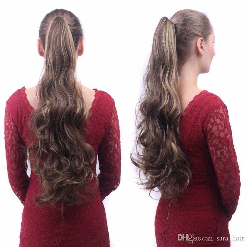 Sara 숙녀 소녀 Claw Jaw Kinky 곱슬 곱슬 머리는 유사한 인간 포니 테일 머리 연장에서 자른다 말꼬리 포니 꼬리 머리 피스 55CM, 22