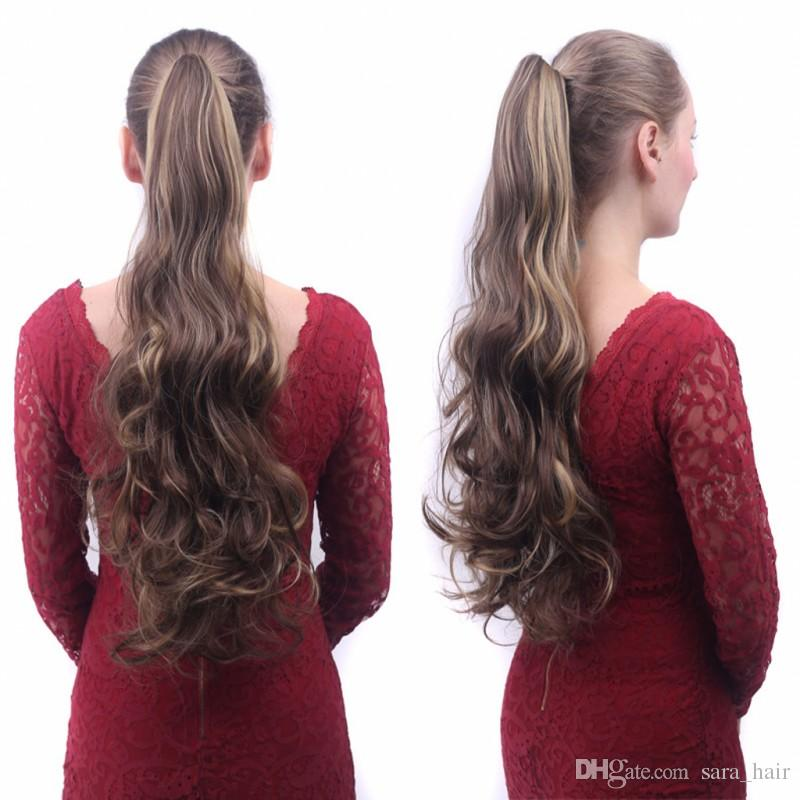 Sara dames filles griffe mâchoire crépus bouclés ponytails clip dans la queue de cheval humaine extension de cheveux queue de cheval pony postiche 55cm, 22
