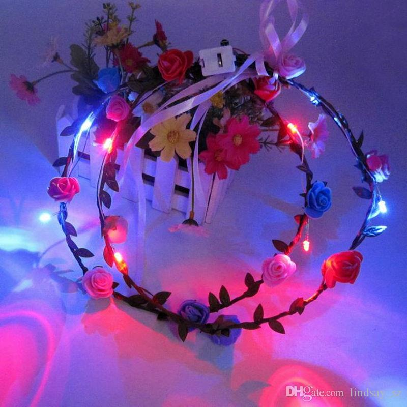 LED Clignotant Rose Fleur Festival Bandeau Voile Parti Halloween De Mariage De Noël Light-Up Floral Garland Hairband Fille Meilleur Cadeau
