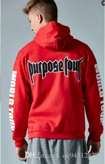 2018 justin bieber purpose tour all access red pullover. Black Bedroom Furniture Sets. Home Design Ideas