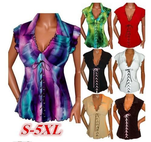 5f8e0f1d8bdf Lace Up Beach Blouse Shirt Women Tops Ruffle Gradient T Shirts ...