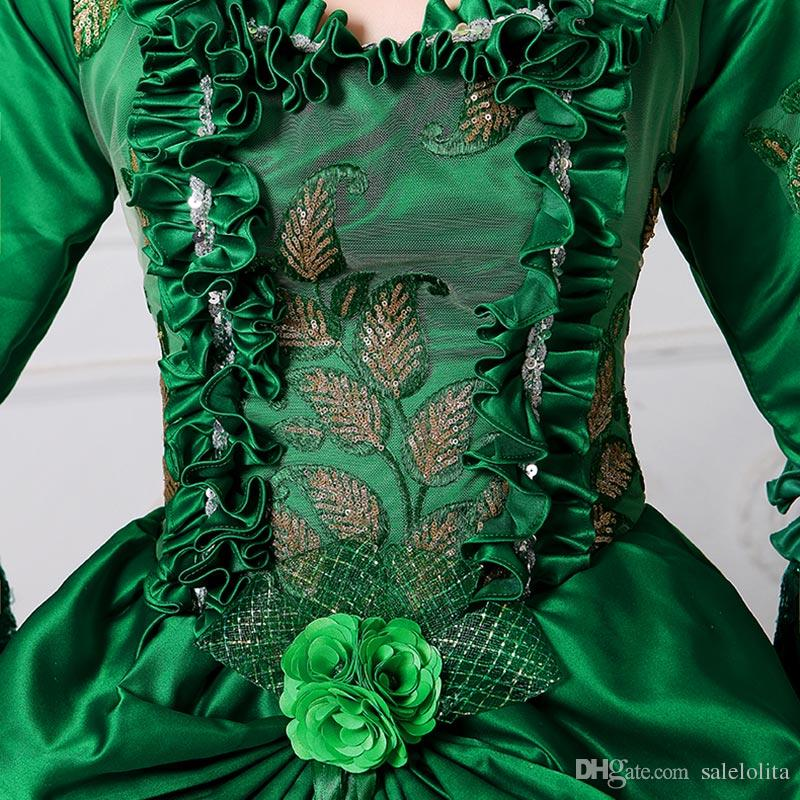 2017 New Renaissance Fair Royal Green Elizabeth Abito da ballo Marie Antoinette Medeival Period Dress with Train Reenactment Costume