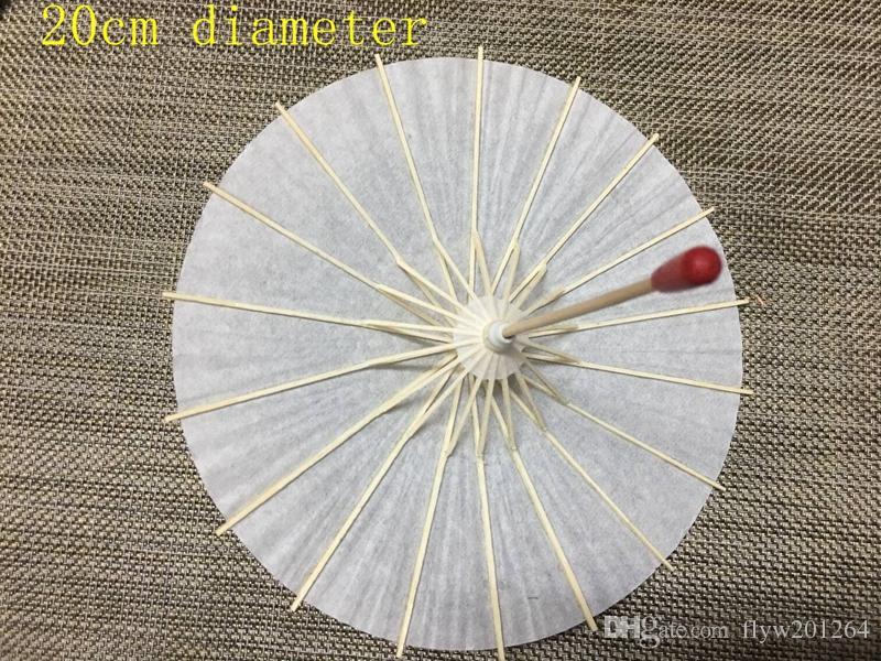 / 20cm / 30cm / 40cm / 60cm Diamètre de mariage en bois Parasol papier blanc Poignée longue poignée de mariage