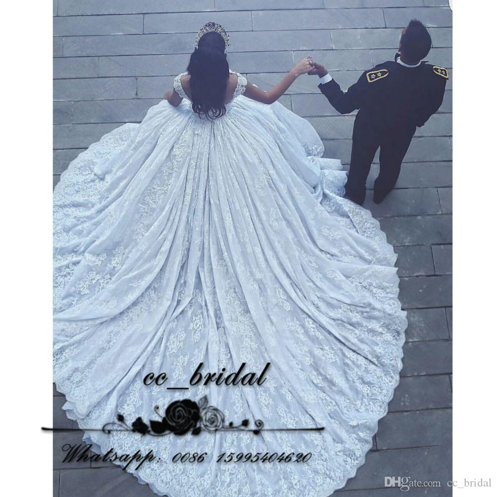 Luxury Chapel Train Designer Wedding Dresses 2017 Ball Gown Princess ...