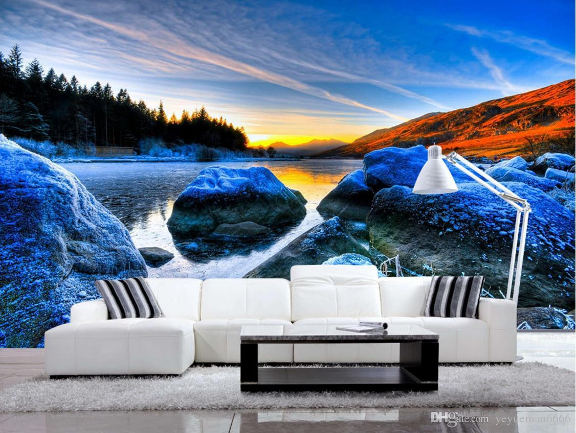 Фон украшения стены живопись Photowallpapier 3D озеро и горы нетканое спальня обои papel де parede 3d europeu
