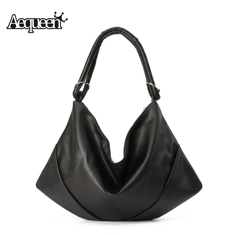 Wholesale- AEQUEEN Womens Handbags Luxury Shoulder Bags Hobos Designer Hand Bags For Women Black Leather Bags Ladies Large Capacity Toteas