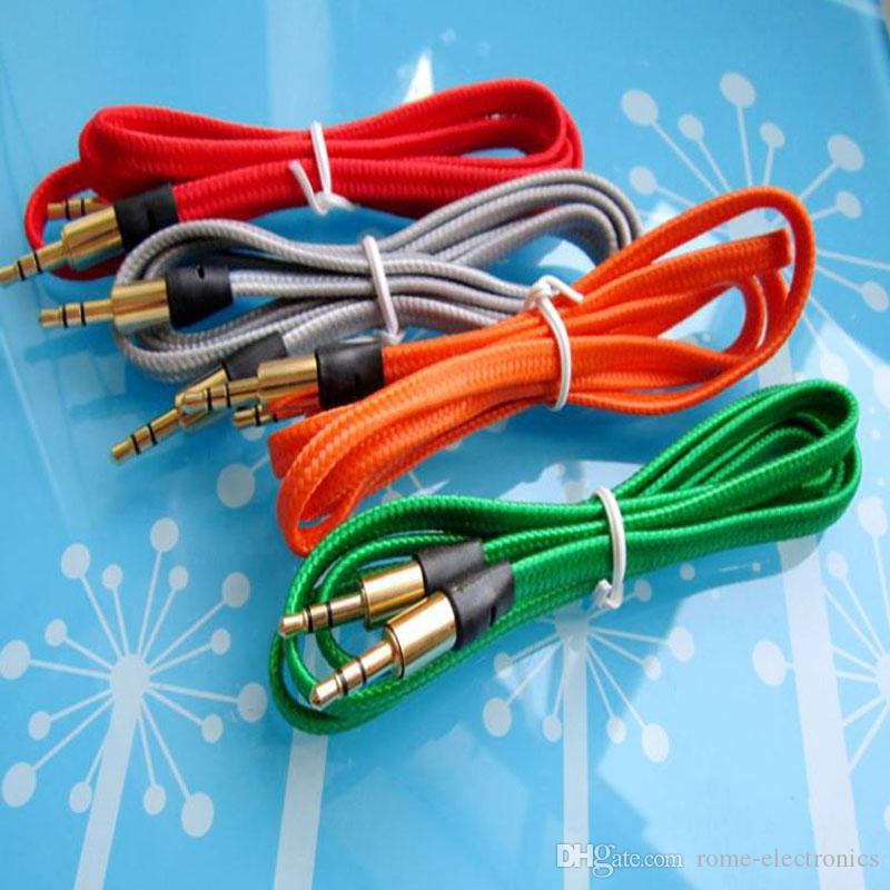 3.5mm Noodles Flat Fabric Braid Wire Plug Stereo Aux Audio Cable for ...