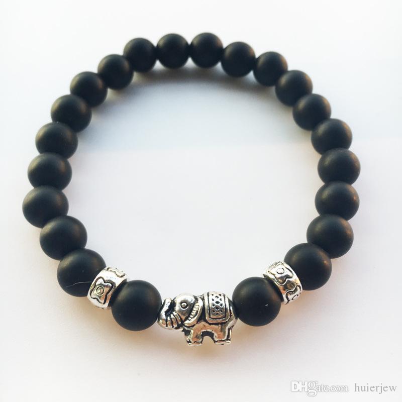 Hommes Bracelets De Luxe Bijoux Femmes pierre mate perle bracelet éléphant léopard tête tête de lion chouette tortue Lava Charme Bracelets