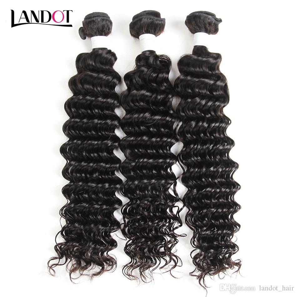Péruvienne Malaisien Indien Brésilien Vierge Tisse de Cheveux Humains 3/4/5 Bundles Vague de Corps Droite Profonde Crépus Crépus Remy Cheveux Naturels Noir
