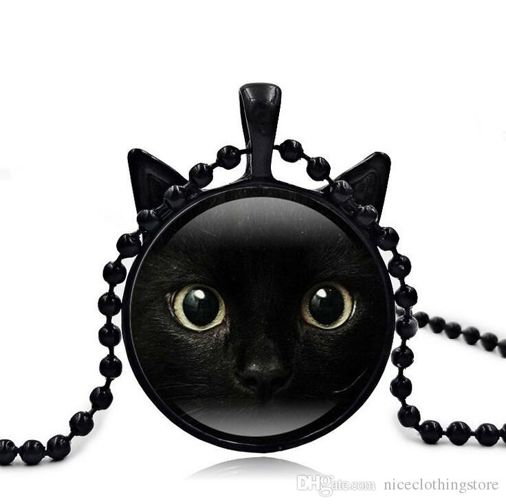 New Black Cat Face Time Gem Cabochon Necklace Vintage Head Cat's Ear Glass Pendant Nice Jewelry Accessary Gift Girl Black/Brown/Silver