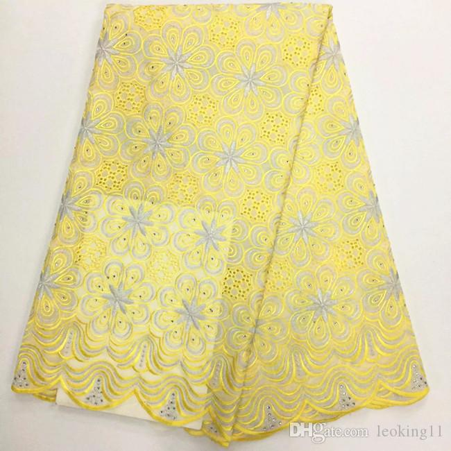 5 YardsHot sale yellow african cotton lace fabric with purple flower design swiss voile lace for clothes BC133-7