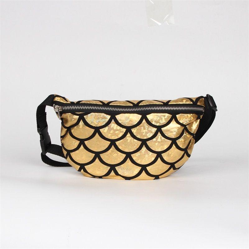One Shoulder Bag Mermaid Sequins Fish Scale Waist Pack Multi Function Zipper Storage Bags Toiletry Package Adjustable Size 12lja C R