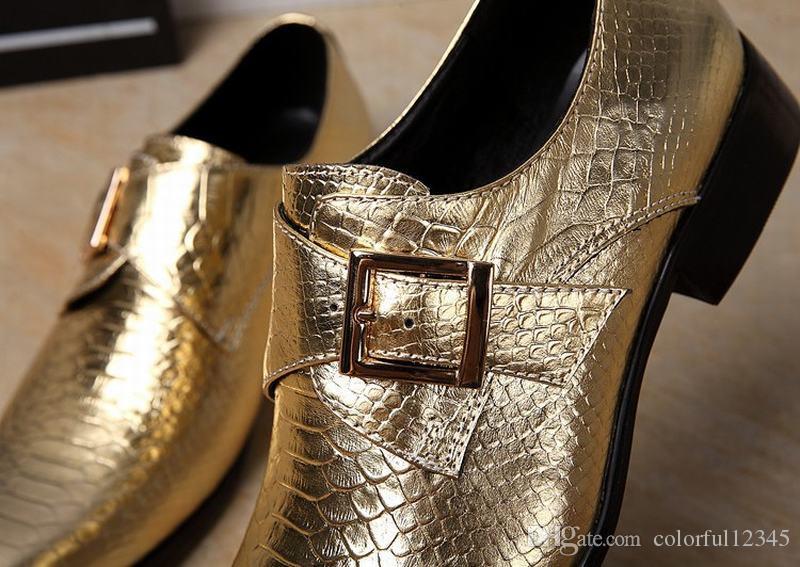 Alta Moda Serpentina de Couro Genuíno Serpente Homens Se Vestem Sapatos Cavalheiro Fivela Calçado Festa de Dança Sapato Masculino Meninos de Ouro / Prata