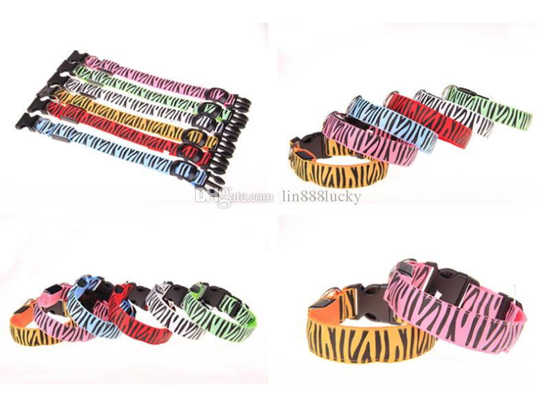 Zebra pattern Nylon Pet LED Dog Collar Night Safety LED Flashing Glow LED Pet Supplies Dog Cat Wire mesh Collars