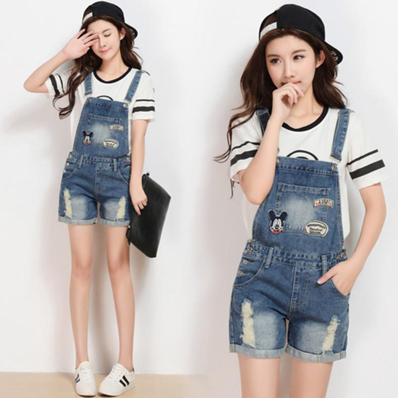 d0b60fa1232 2019 Womens Jumpsuit Denim Overalls Summer Jumpsuits Rompers Casualcartoon  Embroidery Strap Holes Ripped Pockets Shorts Jeans Coverall From  Hualijingtian