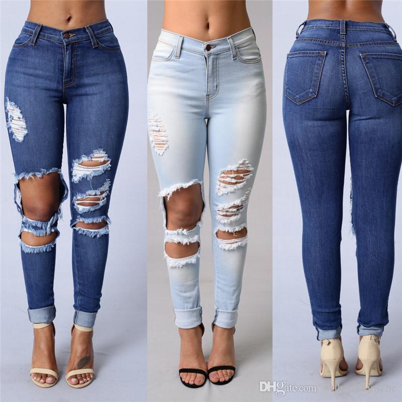 7a872fb1b9e2e Compre Nuevo Diseño Más El Tamaño De Moda Pantalones Para Mujer Damas Celeb  Estiramiento Rasgado Flaco De Cintura Alta Pantalones De Mezclilla  Pantalones ...