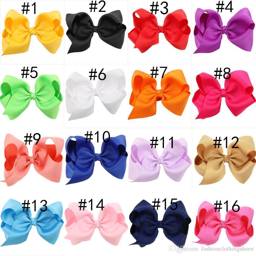 4,7-дюймовый Boutique луки с зажимами Clips ребёнки волос сплошного цвета Grosgrain ленты Большой лук узел Barrettes Детские аксессуары для волос
