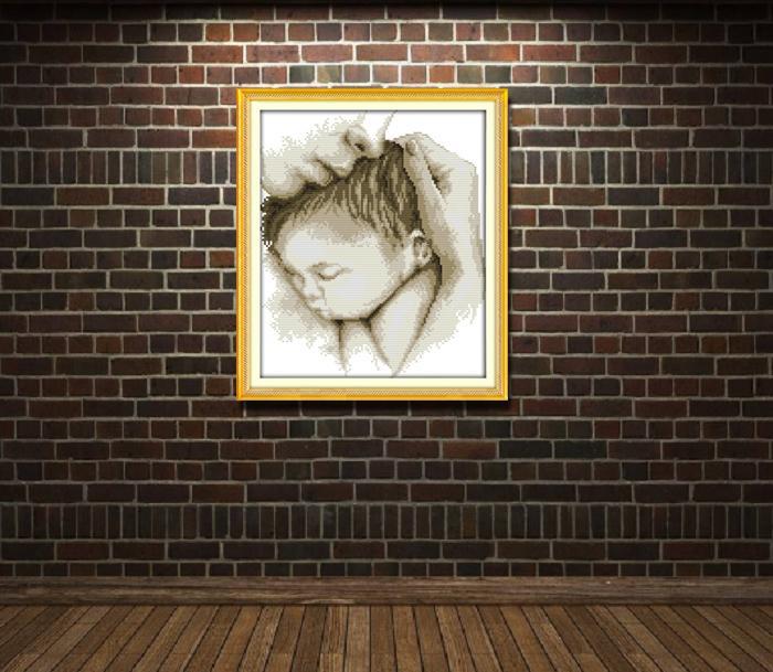Embrace amore di bambino Madre, stile aggraziato punto croce Needlework Imposta Embroidery Kits dipinti contati stampati su tela DMC 11CT