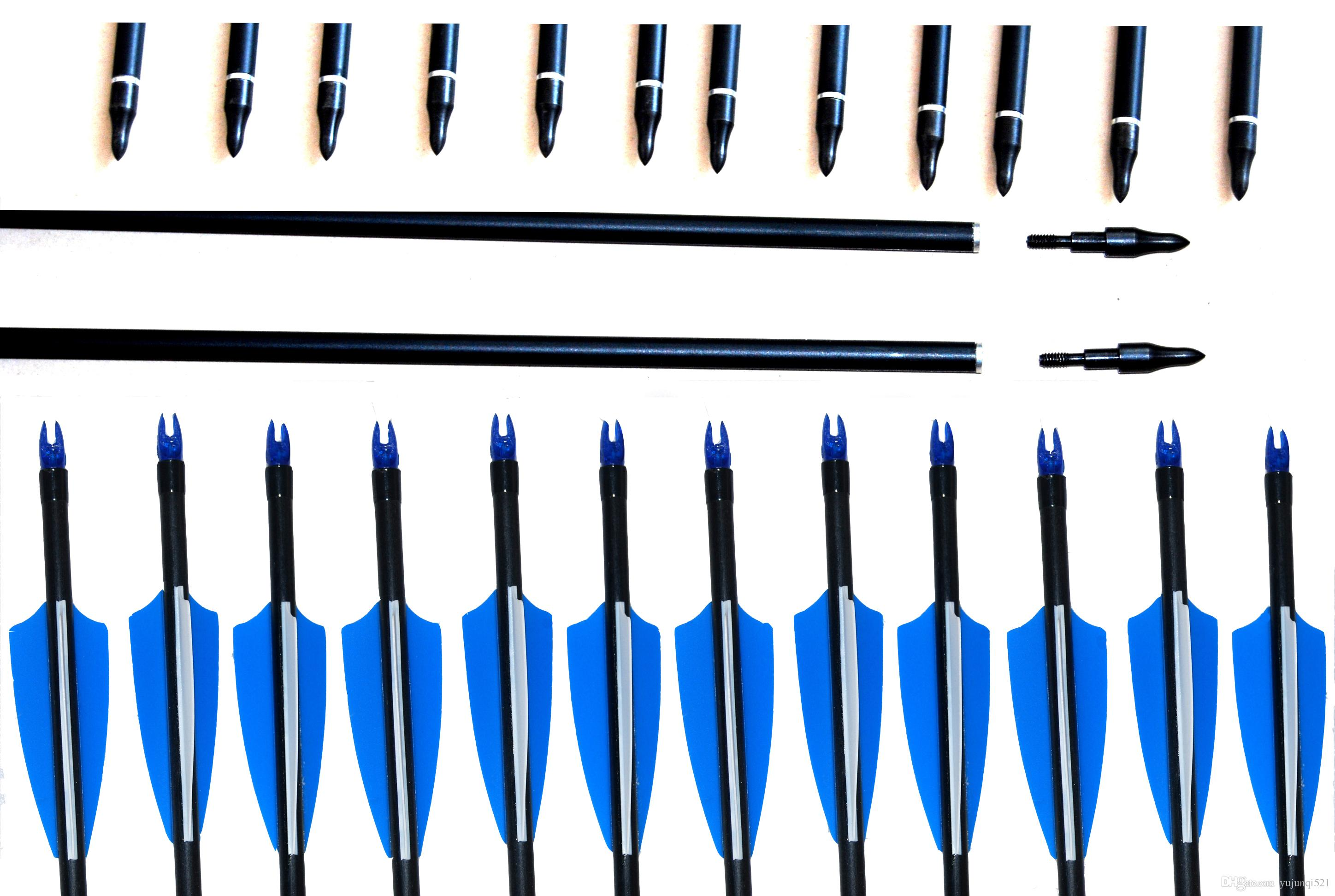 12pcs 31.5inches/30inch/29inch/28inch new fiberglass arrows outdoor for recurve bow / Compund Bow archery hunting with repleable Arrowhead