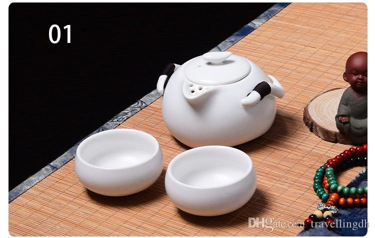 1 Teapot 2 Teacups 1bag Tea set,Beautiful and easy teapot kettle,Chinese Travel Ceramic Portable Teaset,Coffee Cup gaiwan